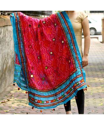 Kutch Embroidered Real Mirror Work Pink & Orange Colored Cotton Bandhni Print Dupatta