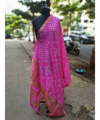 Light Shinning Pink Colored Bandhani Printed Tafeta Dupatta