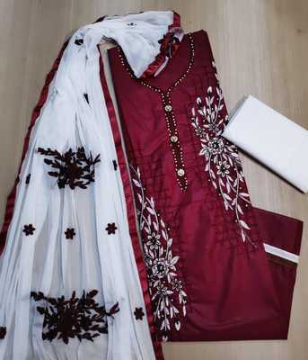 Anaita Pure Cotton Maroon Color Embroidered, Embellised Dress Material With Embroidered Dupatta