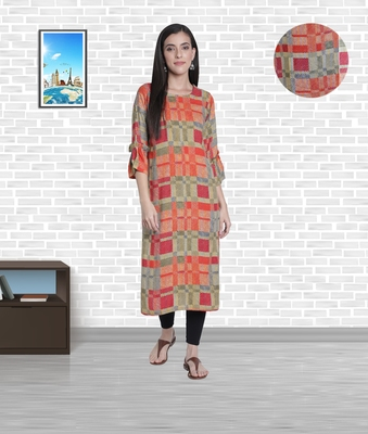 Fabclub Women's Heavy Rayon Boat Neck Stylish Bell Flared Sleeves Printed Kurti (MultiColor)