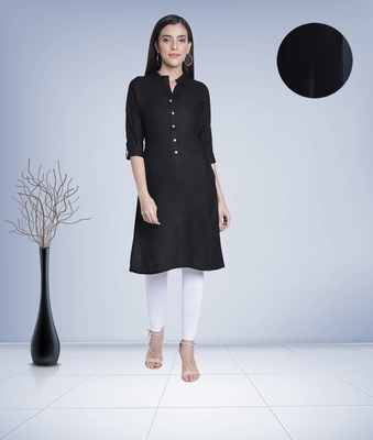 Fabclub Women's Rayon Solid Plain Straight Kurti (Black)