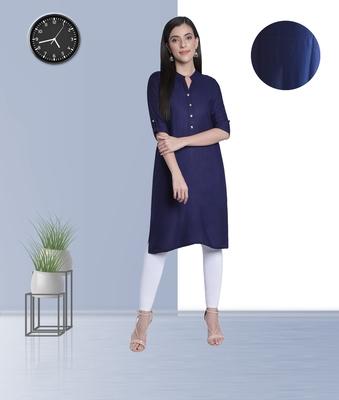 Fabclub Women's Rayon Solid Plain Straight Kurti (Navy Blue)