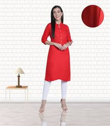Fabclub Women's Rayon Solid Plain Straight Kurti (Red)