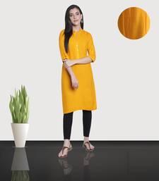 Fabclub Women's Rayon Solid Plain Straight Kurti (Yellow)