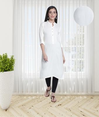 Fabclub Women's Rayon Solid Plain Straight Kurti (Off White)