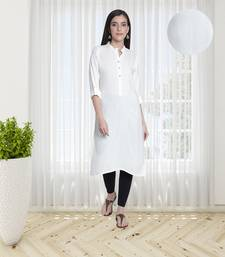 Fabclub Women's Rayon Solid Plain Straight Kurti (Off White)