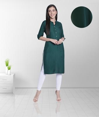 Fabclub Women's Rayon Solid Plain Straight Kurti (Dark Green)