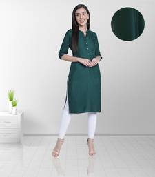Fabclub Women's Rayon Solid Plain Straight Kurti (Dark Green)