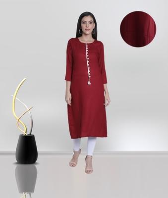 Fabclub Women's Rayon Solid Plain A-Line Asymmetric Designer Kurti (Maroon)