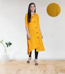 Fabclub Women's Rayon Solid Plain Asymmetric A-Line Designer Kurti (Mustard Yellow)
