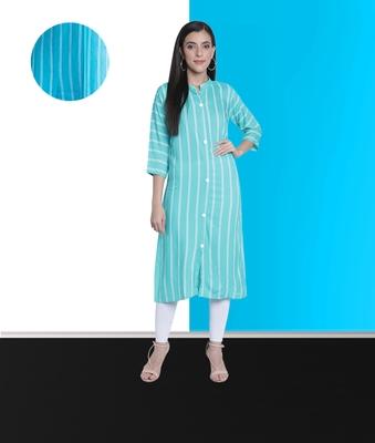 Fabclub Women Rayon Striped Straight Kurti (Turquoise)
