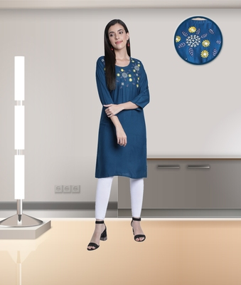 Fabclub Rayon Embroidered Straight Women Kurti (Teal)
