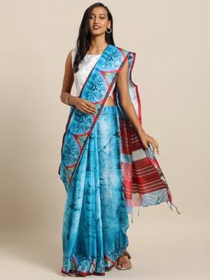 New Batik Shibori Print Digital Linen Saree