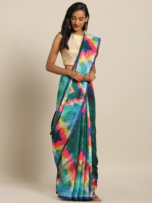 New Batik Shibori Print Digital Linen Saree