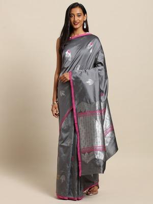 New Soft Silk Banarasi More Kesari Paithani Saree