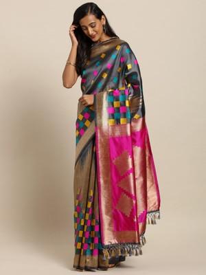 New Banarasi Kanjiwaram Tempal With Multy Colour Box Soft Silk Saree