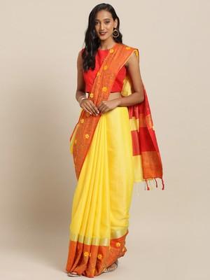 Yellow Orange Embellished Flower 3D Desine Hevy Work Pure Linen Saree