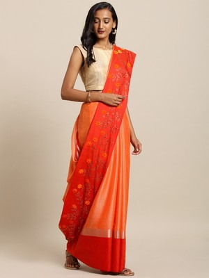 Orage Orange Embellished Flower 3D Desine Hevy Work Pure Linen Saree