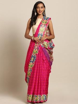 New Linen Chanderi Bandhej Print KalamKari Flower Border Print Soft Saree
