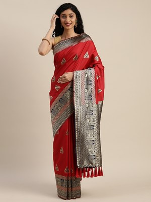 VASTRANAND Red & Navy Blue Silk Blend Woven Design Banarasi Saree