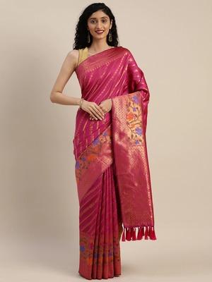VASTRANAND Pink & Gold-Toned Silk Cotton Striped Banarasi Saree