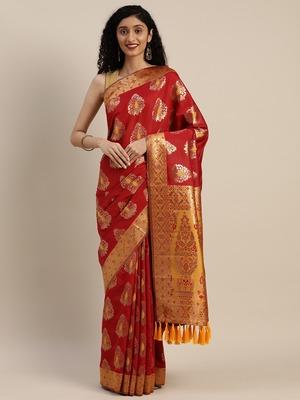 VASTRANAND Red & Gold-Toned Silk Blend Woven Design Banarasi Saree