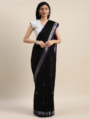 VASTRANAND Purple & Black Linen Blend Woven Design Banarasi Saree