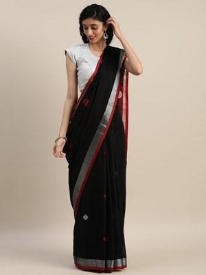 VASTRANAND Black & Red Linen Blend Woven Design Saree