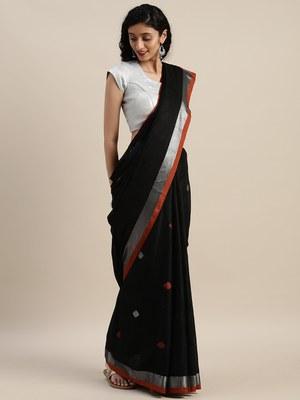 VASTRANAND Black & Orange Linen Blend Woven Design Saree