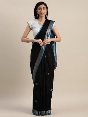 VASTRANAND Black & Blue Linen Blend Woven Design Saree