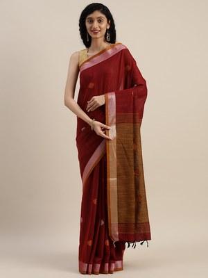 VASTRANAND Maroon & Orange Linen Blend Woven Design Banarasi Saree
