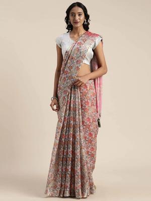 VASTRANAND Blue & Pink Linen Blend Printed Saree