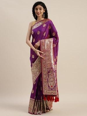 VASTRANAND Purple & Golden Silk Blend Woven Design Kanjeevaram Saree