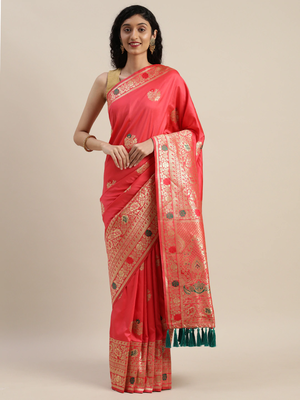 VASTRANAND Pink & Gold-Toned Silk Blend Woven Design Kanjeevaram Saree
