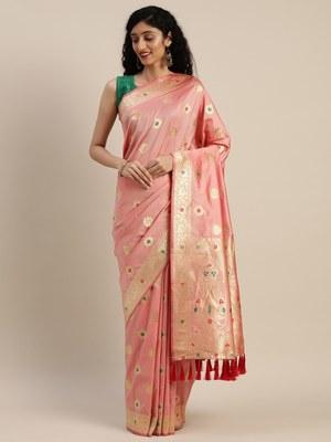 VASTRANAND Pink Silk Blend Woven Design Kanjeevaram Saree