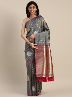 VASTRANAND Grey Silk Blend Woven Design Banarasi Saree