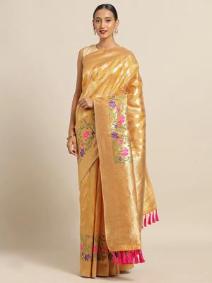 VASTRANAND Mustard Yellow & Golden Silk Cotton Woven Design Kanjeevaram Saree