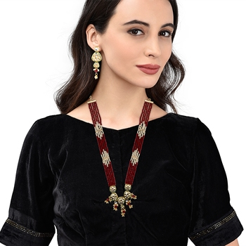 Traditional Gold Plated Kundan Red Pearl Multi Layered Red Meena Work Long Necklace & Earrings Set For Women