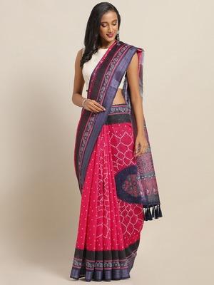 VASTRANAND Pink & Blue Cotton Blend Printed Bandhani Saree