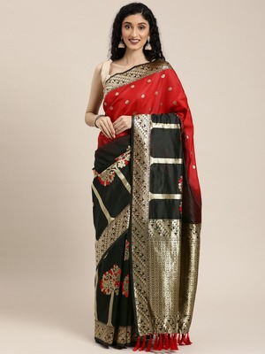 VASTRANAND  Black & Gold-Toned Silk Blend Woven Design Banarasi Saree