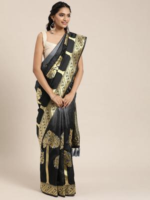 VASTRANAND  Black & Gold-Toned Silk Blend Woven Design Banarasi Designer Saree
