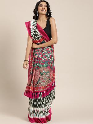 VASTRANAND  Black & White Linen Blend Printed Ikat Saree