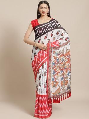 VASTRANAND  White & Black Floral Printed Ikat Designer Saree