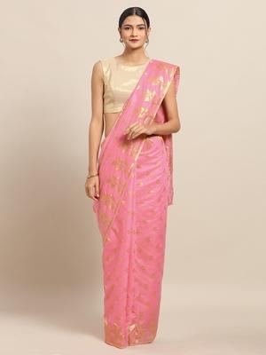 VASTRANAND Pink Coloured Trendy Dhakai Jamdani Cotton Silk Saree