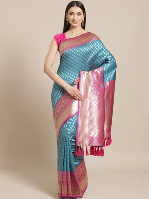 VASTRANAND  Blue & Golden Woven Design Banarasi Saree