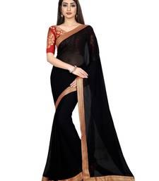 Black plain faux chiffon saree with blouse