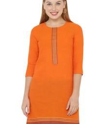 Orange plain cotton cotton-kurtis