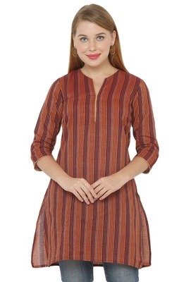 Brown plain cotton cotton-kurtis
