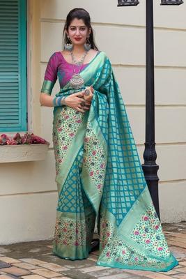 Sky blue woven banarasi silk saree with blouse