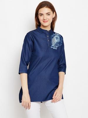 Navy-blue embroidered denim tunics